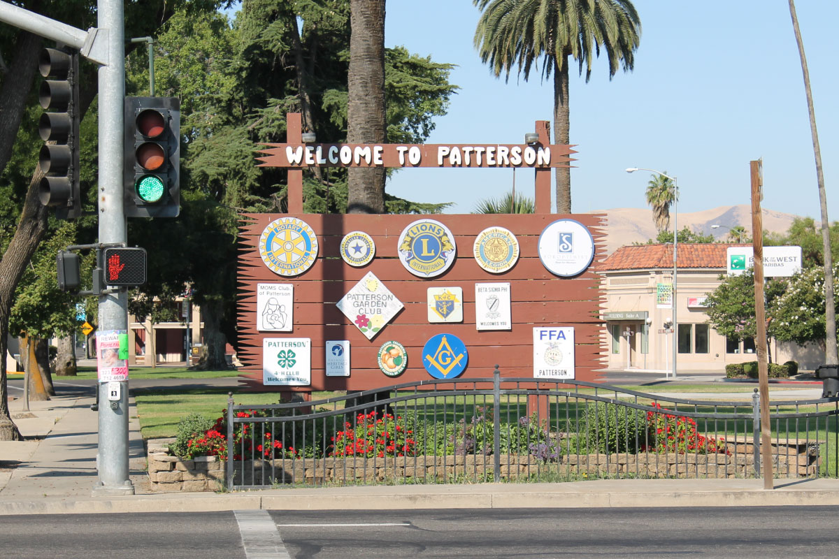 Welcome sign for the City of Patterson, Ca